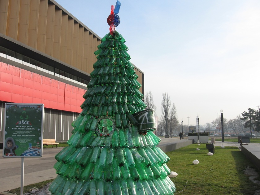 A plastic New Year tree.